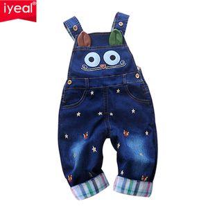 Iyeal 2017 Outono Macacão de Bebê Animal Do Bebê Da Menina do Menino Jeans Macacão de Alta Qualidade Macacão Jeans Roupa Infantil Roupas de Bebê 0-2y J190526