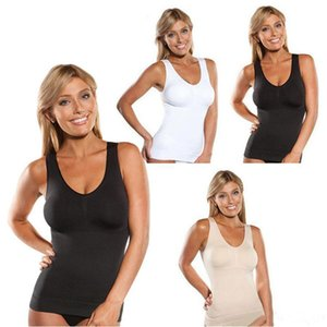 Wholesale Womens Round Collar Tank Top Body Shaper 3 Colors Removable Chest Inner Pads Slimming Elastic Breathable Sleeveless Vest DH0673