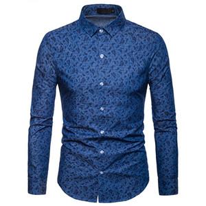 Moda Uomo Primavera Autum stampata floreale camice sottili Nuovo pulsante casual Giù Top abito Mens Le camice di blu a maniche lunghe