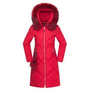 Для женщин Зимние куртки с капюшоном пальто зимы женщин меховой воротник сгущает Warm Long Jacket Женский Тонкий Верхняя одежда Parka дамы