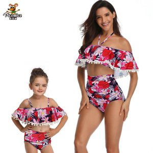 Family Mother Daughter Matching Swimsuit Cute Lovely Sleeveless White Dot Swimwear One-piece Bikini Bathing Suit