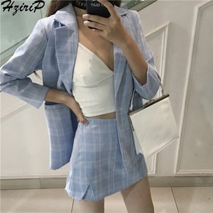 Hzirip Women 2019 Summer Office Fashion Suit Sets Short Skirt Blazer Single Breasted Jacket&Trouser Work Lady 2 Pieces set