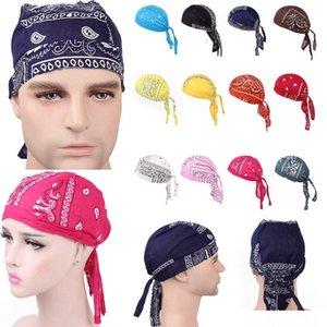 Unisex di lusso Cotone Durags bandana Turbante Cappello Pirata tappi parrucche Doo Durag motociclista Copricapo fascia Pirata Cappello da equitazione Caps Accessori per capelli