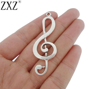 ZXZ 5pcs Antique Silver Tone Large Treble Clef Music Note Charms Pendants for Jewelry Making Findings 60x21mm