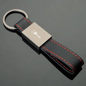 1Pcs Black Matte Leather Car Logo Keychain Keyring Holder For  BMW //////M