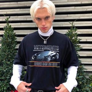 19ss Vetements и автомобилей печати мода футболка летом дышащий футболка свободного покроя простой Мужчины Женщины улица с коротким рукавом HFLSTX410