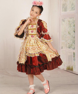 Kids Girls Princesses European Court Dresses Fantasias Stage Performance Costumes Traditional Russian National Dress