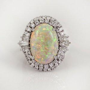 Vagzeb Silver Color CZ Big White White Opal Anneaux pour les femmes Dropshipping Bands Ring