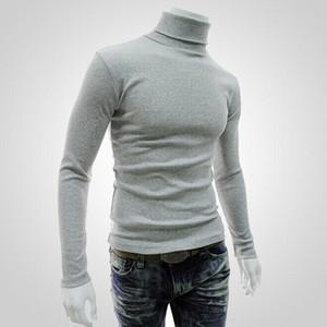 Moda Yeni Sıcak Satış Erkekler Kış Sıcak Pamuk Yüksek Boyun Siyah Triko Turtelneck Triko Tops