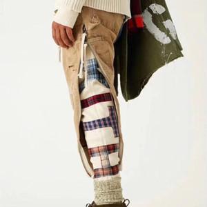 Pantalones 18FW forman los pantalones uniformes militares de época GREG pesada bordado agujero parche de doble capa de hombre y mujer de alta calidad HFBYKZ075