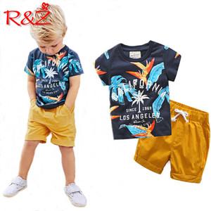 Rz Garçons Vêtements Définit 2018 Coton D'été Coton À Manches Courtes Imprimé Lettres T-shirts + pantalons 2 pcs Pour Enfants Vêtements Pour Enfants Y190518