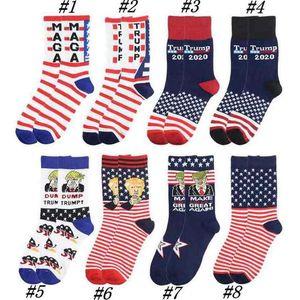 Presidente adulto Medio MAGA Trump Carta medias a rayas Estrellas US Flag Knit Deportes Calcetines Medias Hip Hop MAGA calcetín ZZA2267 50Pcs