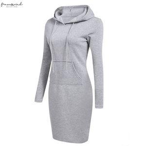 Laamei 2020 Long Sleeve Hooded Drawstring Fleeces Women Dresses Autumn Winter Warm Twill Dress Women Vestidos Hoodies Sweatshirt Dress