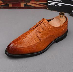 2019 Nuevos zapatos de vestir para hombre Mocasines con patrón de cocodrilo zapatos casuales zapatos de novio tamaño EE. UU. 6-10