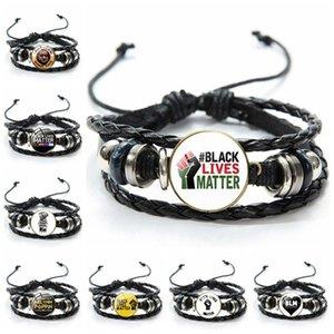 I CAN'T BREATHE Black Lives Matter Bracelet Handmade Leather Adjustable Bangle Bracelets Fashion Mens Bracelet