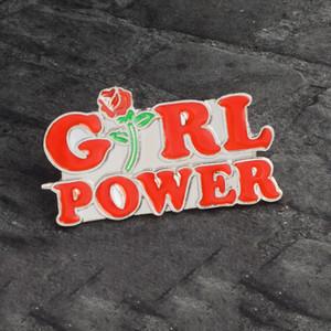 poder femenino broche especiales de dibujos creativos de la solapa de mezclilla esmalte insignia de regalo pines de alimentación niña roja hecha en casa