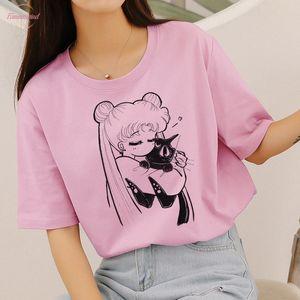 Sailor Moon Cute Cat Aesthetic Anime Print Kawaii Japanese Style New Harajuku Vogue Casual Short Sleeve Top Womens T Shirt