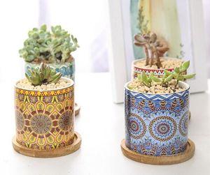 Sukkulente Töpfe Mandalas Muster Blume Bonsai Topf Zylinder Keramik Pflanz für Kaktus, mit Bambus-Tabletts NW-Geschenk-Idee 6.5 * 7cm