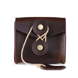 2019 new vintage leather headphone case portable data cable headphone storage bag crazy horse leather mini bag