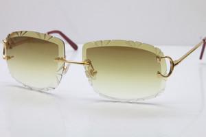 Luxo-2019 Frete Grátis New Trimming Lens mulheres Óculos Hot Unisex Óculos de Sol Sem Aro Da Lente Esculpida Espessura 3.0 T8200762 homens óculos de Sol
