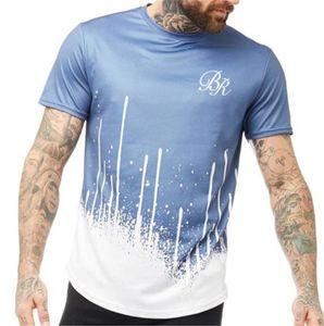 O manches cou des hommes T-shirts Blue Print Fashion Designer Hommes Hauts Gradient Court Couleur