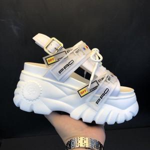 2019 été Chunky sandales femmes 8cm Wedge Talons Chaussures Femme Boucle Plateforme Cuir Casual été Chaussons femme Sandales T200111