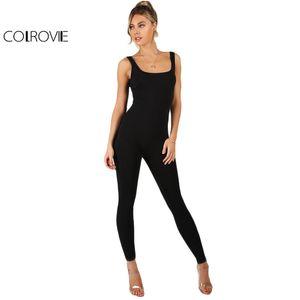 COLROVIE Black Bodycon Jumpsuit Women Sleeveless Brief Slim Basic Tank Jumpsuits Fashion Scoop Neck Skinny Sexy Jumpsuit T200528