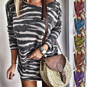 Kadın Tshirt Tasarımcı Sweashirt Kazak Çizgili Baskı Uzun Kollu Bluz Günlük Elbiseler Bayan Ekip Boyun Gömlek 6 Renkler Artı Boyutu S-5XL