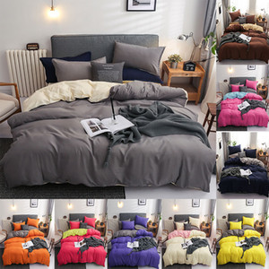 Bedding set Polyester Solid 4pcs Sheets Duvet cover Pillowcase Simple Linens double bed Queen size bed Sheets set Bedcover