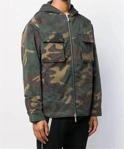 Camouflage-Print Mens Designer Cotton Jacken Mode dünne Panelled Mulit Taschen Herren Baumwoll-Jacken beiläufiger Mann Kleidung