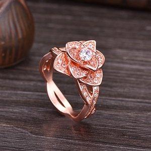 2020 designer creative new European style wish 18K gold inlaid zircon rose female ring