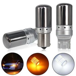 10PCS S25 1156 BA15S P21w BAU15S PY21w T20 7440 W21W LED 전구 3014 144smd 오류 무료 CANBUS 돌려 신호 조명 브레이크 램프