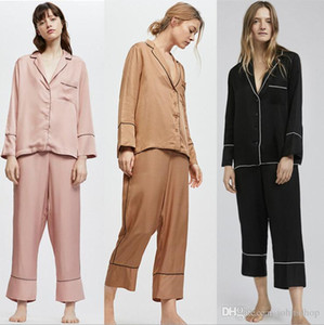 2019 four seasons new ladies long sleeves pajamas suit Robe sets of casual ladies loose shirt style home service free a pair of socks
