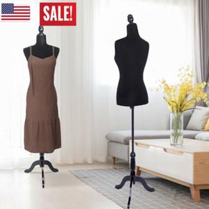 Torso femenino del maniquí la forma del vestido mostrará la mitad de longitud dama Modelo con trípode para ropa Display buque de EE.UU.