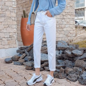 Guuzyuviz Jean Femme Taille Haute Casual Loose Blanco Mujer Primavera Básico Novio Vintage Denim Mujer Jeans Y19042901