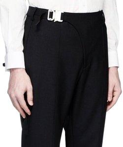 1017 estúdio alyx logotipo bloqueio calças de lã avançado estéreo tarja preta corte calças masculinas soltas de rua