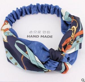 Mode Luxus zweifarbige Nähte gedruckt Fliege Kette Kreuz Stirnband Dame Retro Satin Mitte verknotet Stoß-Stirnband Kostenlose Lieferung