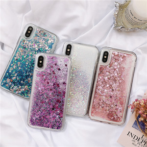 Love Heart Glitter Phone Case For Samsung Galaxy A50 A70 A51 S20 S10 Liquid Quicksand Cover For iPhone 11 Pro Max Bling Cases