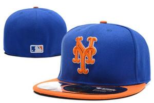 Классический Нью-Йорк На поле Плоский козырек Встроенные шляпы Синий Цвет Белый NY Письмо Вышитые Baseball Mets Полный Замкнутые Caps В Размер 7-Size 8