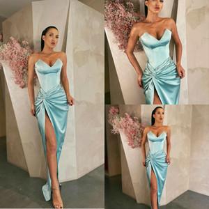 Blue Sexy Mermaid Prom Dresses Satin Sweetheart High Split Ruffle Peplum Evening Dress Party Red Carpet Formal Wear Ogstuff robes de soirée