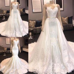 Chic Robes De Mariée Sirène Chérie Sur Mesure 2020 Dentelle Amovible Train Robes De Mariée Appliques Robes De Mariée Perlées
