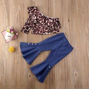 I bambini bambino vestiti della ragazza Leopard fuori-spalla supera svasato pantaloni del denim Outfits Primavera Autunno abbigliamento