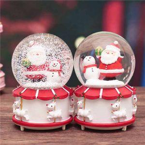 Papai Noel Crystal Ball Luzes de Natal bola água girando caixa de neve música de Presentes de Natal dos miúdos Brinquedos