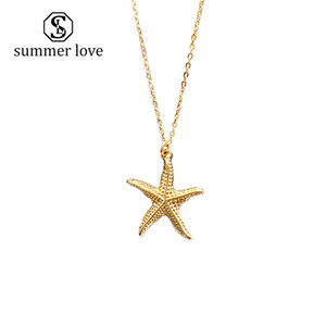 2019 Nueva Playa de Verano Estrella de Mar Conch Cadena Colgante Collar para Las Mujeres de Aleación de Oro Cowrie Shell Collar Regalo de Joyería de Moda