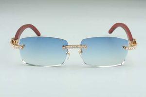 Le plus récent B-3524012-12 grosses lunettes de soleil de diamant, des lunettes en bois, pour les lunettes de pièce carrée hommes de mode et des lunettes de soleil sans bornes des femmes