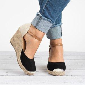 VTOTA Plataforma Cunhas Sandálias 2019 Calcanhar Tampa Flock Gladiador Fivela Cinta Cores Misturadas Sapatos de Verão Mulher Sandalias Mujer H152