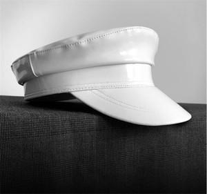 Mode aus echtem Leder Hut Herbst und Winter-Weinlese-Patchwork Pu Beret Damencap England-Art-flache Kappe freies Verschiffen