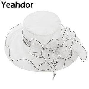 Nuptiale de mariage blanc Hat Womens Volants élégant large Brim Top Fleur Organza Kentucky Derby Party Église Cap Big Summer Sun Hat