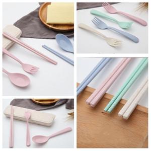 4 estilo 1set = 3pcs cuchara tenedor palillos paja vajilla viajes de mini niños encantadores Vajilla Sets vajilla portable boxT2I5159