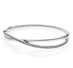 Оригинал 925 стерлингового серебра качества Galaxy увитые ювелирные изделия Цирконий браслет Fit шарма шарика Diy моды